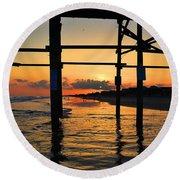 Oak Island Pier Sunset Round Beach Towel