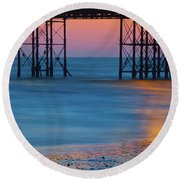 Pier Supports At Sunset I Round Beach Towel