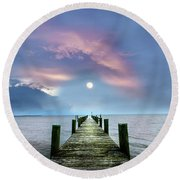 Pier To The Moon Round Beach Towel