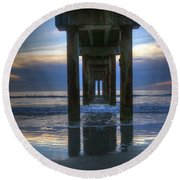 Pier View At Dawn Round Beach Towel