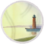 Pierhead Lighthouse, Milwaukee Round Beach Towel