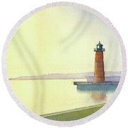 Pierhead Lighthouse, Milwaukee Round Beach Towel