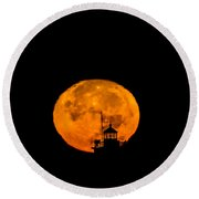 Round Beach Towel featuring the photograph Pierhead Supermoon Silhouette by Everet Regal