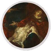 Round Beach Towel featuring the painting Pieta With Mary Magdalene by Giuseppe Bazzani