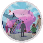 Pig Airline Airport Round Beach Towel