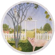 Pig And Cat Round Beach Towel by Ditz