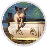 Pig In A Bathtub Round Beach Towel by Daniel Eskridge