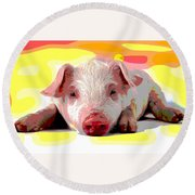 Round Beach Towel featuring the mixed media Pig In A Poke by Charles Shoup