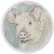 Pig Portrait-farm Animals Round Beach Towel