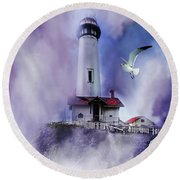 Pigeon Lighthouse With Fog Round Beach Towel