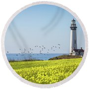Pigeon Point Light Station Historic Park Round Beach Towel