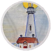 Pigeon Point Lighthouse  Round Beach Towel
