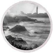 Pigeon Point Rocky Shore Round Beach Towel