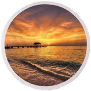 Pigeon Point Sunset Round Beach Towel