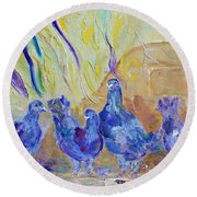 Round Beach Towel featuring the painting Pigeons by AmaS Art