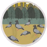 Pigeons Day Out Round Beach Towel