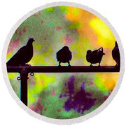 Pigeons In Abstract 2 Round Beach Towel