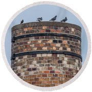 Pigeons On A Stack Round Beach Towel