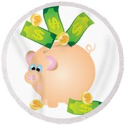 Piggy Bank With Bills And Coins Illustration Round Beach Towel