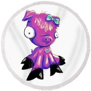 Round Beach Towel featuring the digital art Piggy  by Lizzy Love