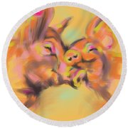 Round Beach Towel featuring the painting Piggy Love by Go Van Kampen