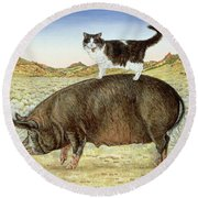 Piggyback-riding At Breteche Creek Round Beach Towel by Ditz
