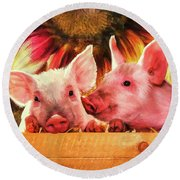 Piglet Playmates Round Beach Towel by Tina LeCour
