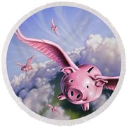 Pigs Away Round Beach Towel
