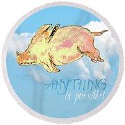 Pigs Do Fly Round Beach Towel