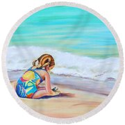Round Beach Towel featuring the painting Pigtail Cutie by Patricia Piffath