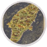 Piictorial Map Of The Island Of Rhodes - Rose Island - Island Of The Sun - Antique Map Round Beach Towel