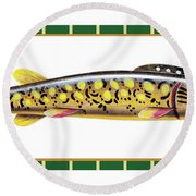 Pike Ice Fishing Decoy Round Beach Towel