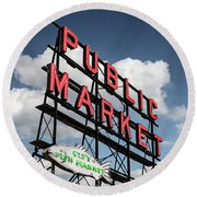 Round Beach Towel featuring the photograph Pike Place Market by Ed Clark