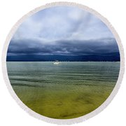 Pike's Beach Storm Approaching Round Beach Towel