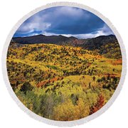 Pikes Peak Autumn Round Beach Towel