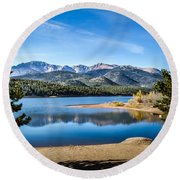 Pikes Peak Over Crystal Lake Round Beach Towel