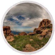 Round Beach Towel featuring the photograph Pikes Peak Panorama by Chris Bordeleau