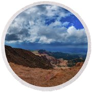 Round Beach Towel featuring the photograph Pikes Peak Summit Vista #1 by Chris Bordeleau