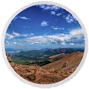 Round Beach Towel featuring the photograph Pikes Peak Summit Vista #2 by Chris Bordeleau
