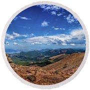 Pikes Peak Summit Vista #2 Round Beach Towel by Chris Bordeleau