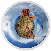 Round Beach Towel featuring the photograph Pikes Peak Tiny Planet #1 by Chris Bordeleau