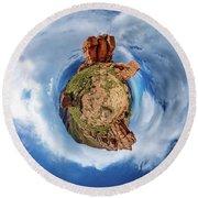 Pikes Peak Tiny Planet #1 Round Beach Towel by Chris Bordeleau