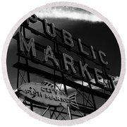 Pikes Place Market Sign Round Beach Towel