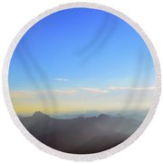 Pilchuck And Three Sisters Sunrise Round Beach Towel