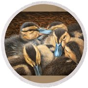Pile O' Ducklings Round Beach Towel