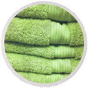 Pile Of Green Towels Round Beach Towel