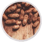 Pile Of Peanuts Covering Top Half Of Board Round Beach Towel