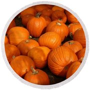 Pile Of Pumpkins Round Beach Towel