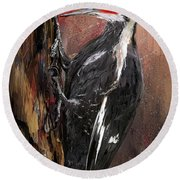 Pileated Woodpecker Art Round Beach Towel by Lourry Legarde