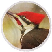 Round Beach Towel featuring the photograph Pileated Woodpecker With Snowfall by Heidi Hermes